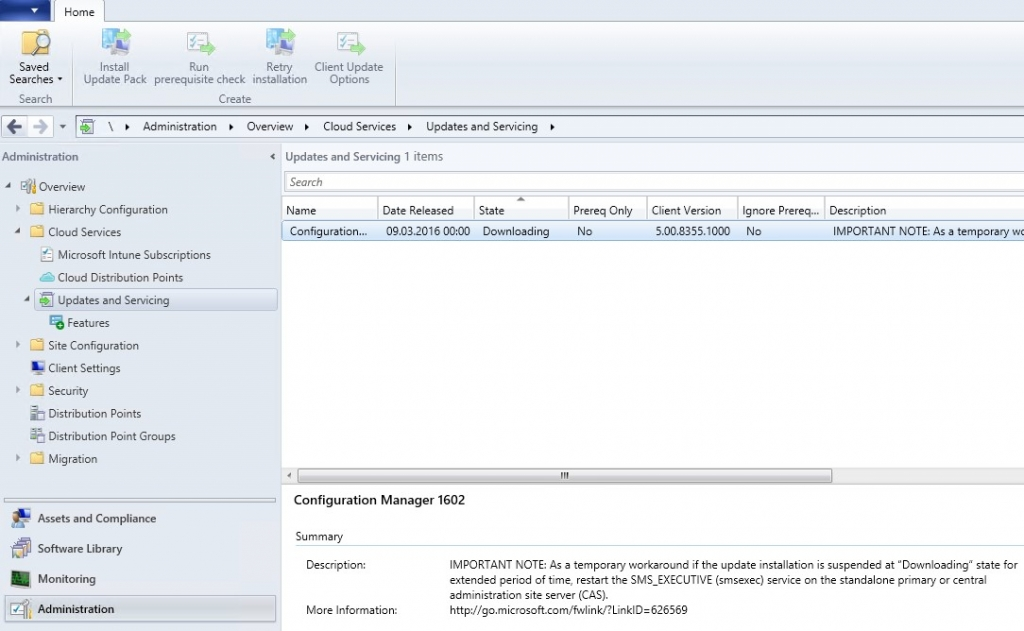 System Center Configuration Manager v1511 to v1602 upgrade
