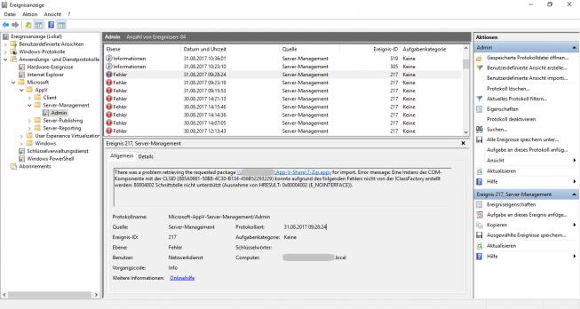 App-V EventLog des Management Servers. Dort zu sehen die Event-ID 217