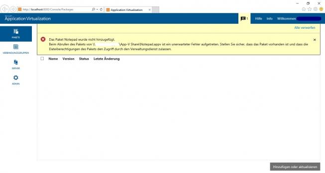 Fehlermeldung beim Hinzufügen eines Paketes in der Management Konsole des App-V Servers