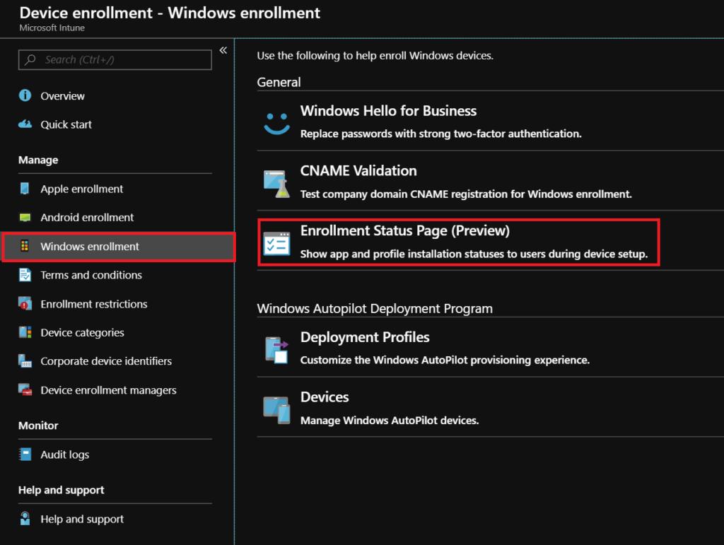 Windows Autopilot: Enrollment Status Page in Microsoft