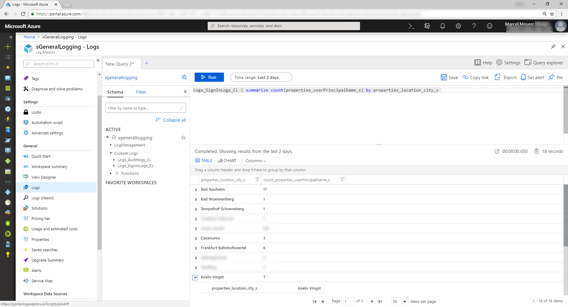 Logging Azure AD audit and sign-ins to Azure OMS Log Analytics