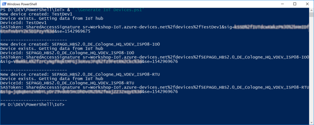 Creating devices for Azure IoT Hub with SAS token automatically