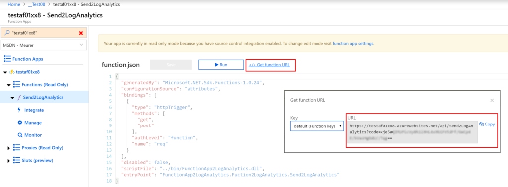 Deploy an Azure Functional App as an interface to Log