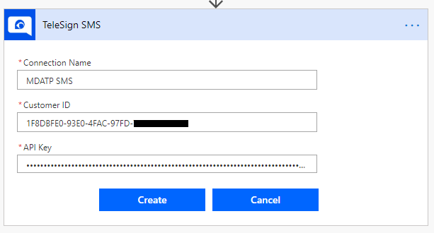 A screenshot of the TeleSign Connector setup in Microsoft Flow