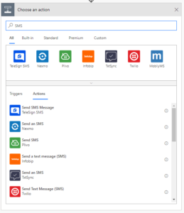 A screenshot of the SMS providers in Microsoft Flow