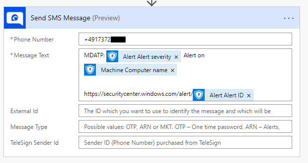 A screenshot of the TeleSign SMS connection in Microsoft Flow