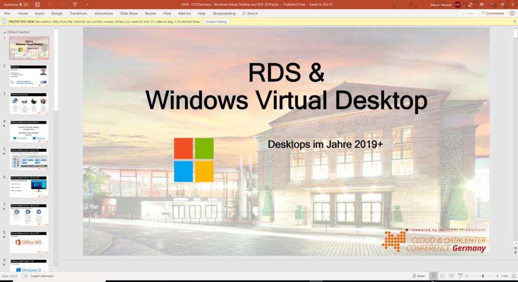 CDC Germany: RDS & Windows Virtual Desktop – Desktops in 2019+