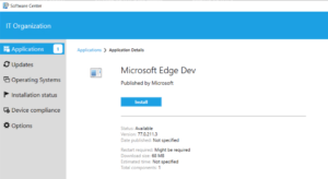 Edge Dev in Software Center